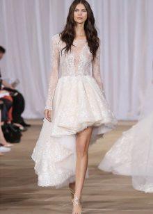 Trumpas vestuvių suknelė su nėriniais