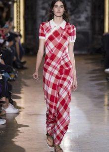 Spring checkered shirt dress