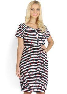 Home jurk-tuniek met dunne horizontale strepen