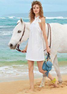Лятна плажна рокля с американски ръкав