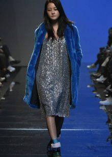 Fur coat under the autumn dress