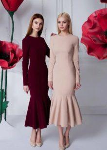 Autumn midi dress with frill
