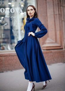 Autumn a-silhouette dress blue