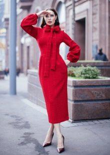 Crochet midi autumn dress