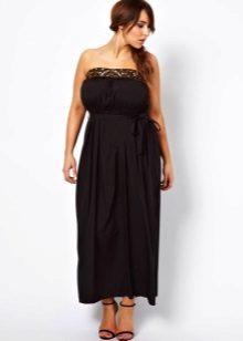 Черна рокля с лентови дрехи с дължина на глезена за жени със затлъстяване