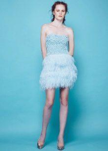 Fringed stroppeløs kort kjole
