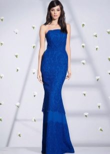 Mermaid strapless dress blue