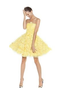 A-line stroppeløs kort kjole
