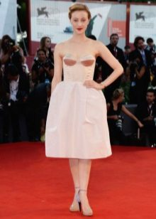 Mid-length bustier dress with bell skirt