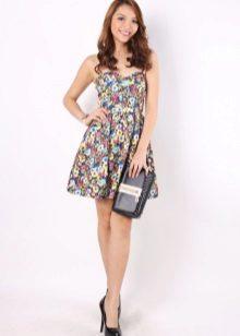 Skirt bustier dress with floral print sun