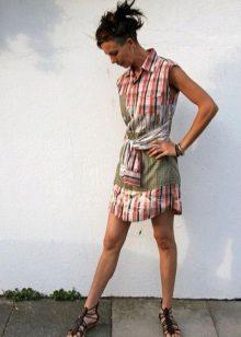 Vestido curto de camisa masculina