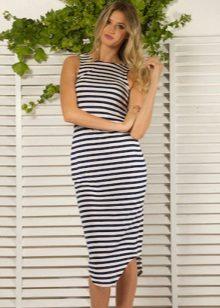 Strikket stripet tank top kjole