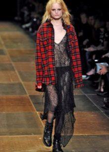 Oblečení ve stylu grunge transparentní šaty tašku