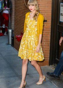 Cardigan para um vestido com uma saia do sol