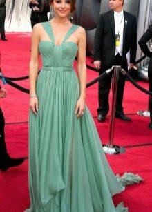 Rochie verde lungă, cu fustă la soare