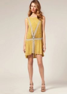 Gele jurk met lage taille Charleston