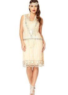 Rochie albă midi cu talie joasă Charleston
