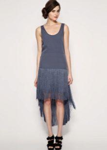 Blauwe asymmetrische jurk met lage taille Charleston
