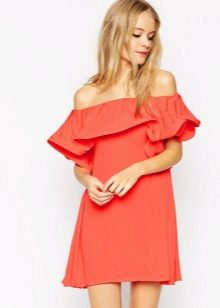 Dress, suede strapless na may ruffles sa bodice para sa figure Triangle