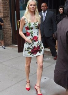 Kort kjole med blomstertrykk