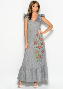 Gray long linen dress sundress