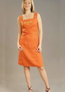 Orange dress-dress mula sa lino