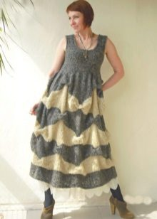 Lang varm strikket kjole, sundress