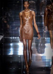 Eko-nahkainen ruskea lyhyt mekko