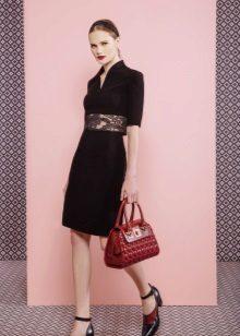 Vestido de crepe de chine, preto liso