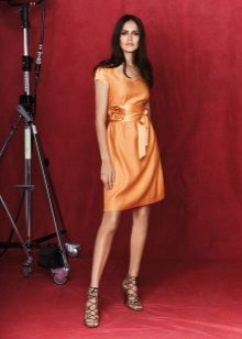 Vestido de laranja crepe de Chine