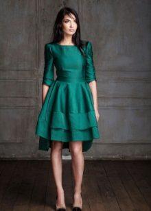 Vestido verde crepe de chine
