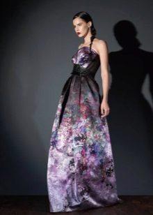Crepe de Chine vestido de noite com estampa