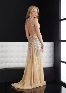 Graduation dress with open back to the floor