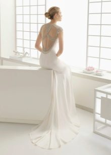 White dress with open back with rhinestones