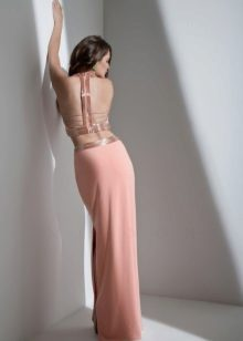Straight dress with open back peach