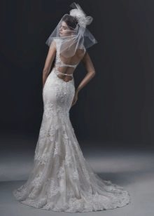 Double lace cutout back wedding dress