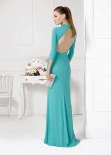 Turquoise dress with open back