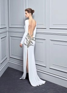 Dress with open back and slit white