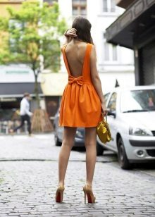 Summer orange floor dress