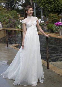 Vestuvių suknelė nėščioms moterims, turinti didelę juosmens dalį