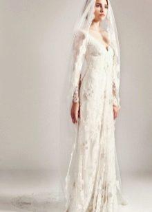 Vestuvių suknelė su nėriniu