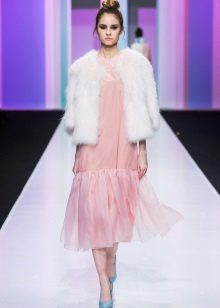 Short fur coat for winter pink dress