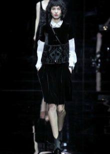 Camisa para vestido de veludo preto