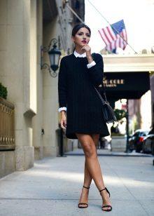 Camisa para um vestido de camisola preta