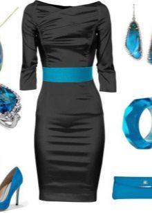 Joia azul para vestido preto