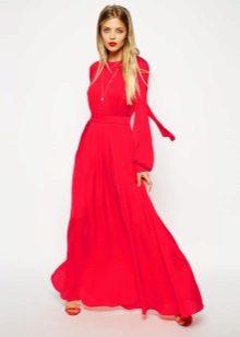 Punainen mekko hihat