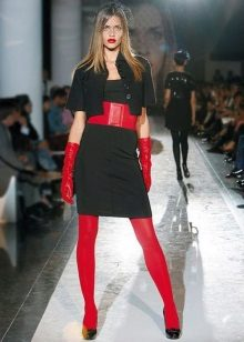 Red tights to black dress