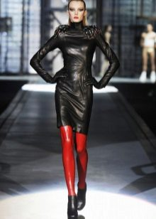 Red tights for leather dress