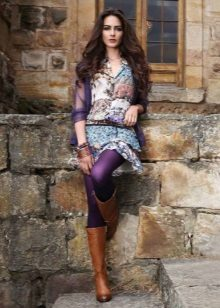 Lilac tights to a short dress