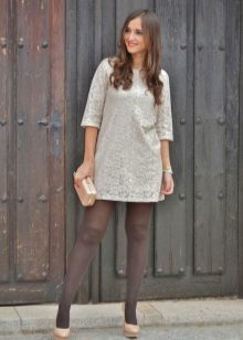 Gray tights to a white dress